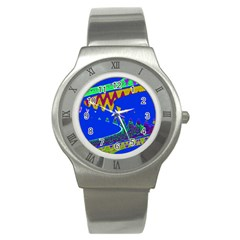 Colorful Wave Blue Abstract Stainless Steel Watch by BrightVibesDesign