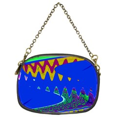 Colorful Wave Blue Abstract Chain Purses (one Side)  by BrightVibesDesign