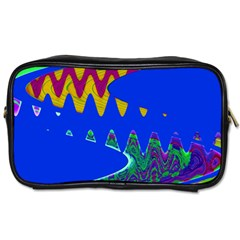 Colorful Wave Blue Abstract Toiletries Bags by BrightVibesDesign