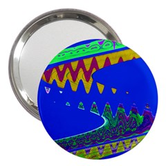 Colorful Wave Blue Abstract 3  Handbag Mirrors by BrightVibesDesign