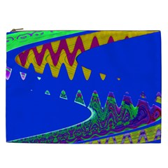 Colorful Wave Blue Abstract Cosmetic Bag (xxl)  by BrightVibesDesign
