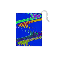Colorful Wave Blue Abstract Drawstring Pouches (small)  by BrightVibesDesign