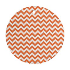 Tangerine Orange & White Zigzag Pattern Ornament (round) by Zandiepants