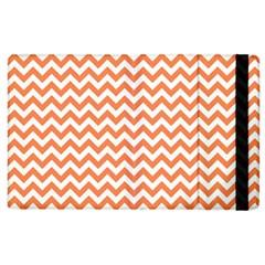 Tangerine Orange & White Zigzag Pattern Apple Ipad 2 Flip Case by Zandiepants