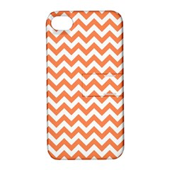 Tangerine Orange & White Zigzag Pattern Apple Iphone 4/4s Hardshell Case With Stand by Zandiepants