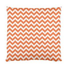 Tangerine Orange & White Zigzag Pattern Standard Cushion Case (one Side) by Zandiepants