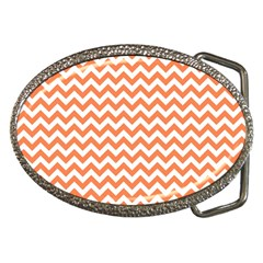 Tangerine Orange & White Zigzag Pattern Belt Buckle by Zandiepants