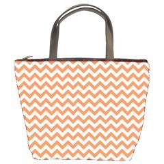 Tangerine Orange & White Zigzag Pattern Bucket Bag by Zandiepants