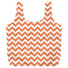 Tangerine Orange & White Zigzag Pattern Full Print Recycle Bag (xl) by Zandiepants