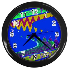 Colorful Wave Blue Abstract Wall Clocks (black) by BrightVibesDesign