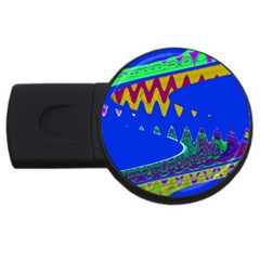Colorful Wave Blue Abstract Usb Flash Drive Round (4 Gb)  by BrightVibesDesign
