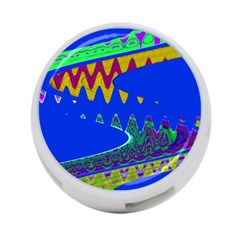 Colorful Wave Blue Abstract 4 Port Usb Hub (two Sides)  by BrightVibesDesign