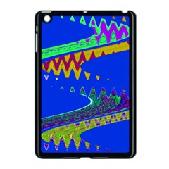 Colorful Wave Blue Abstract Apple Ipad Mini Case (black) by BrightVibesDesign
