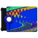 Colorful Wave Blue Abstract Kindle Fire HD Flip 360 Case Front