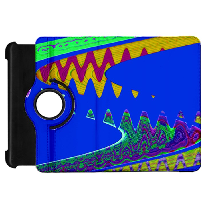 Colorful Wave Blue Abstract Kindle Fire HD Flip 360 Case