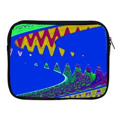 Colorful Wave Blue Abstract Apple Ipad 2/3/4 Zipper Cases by BrightVibesDesign