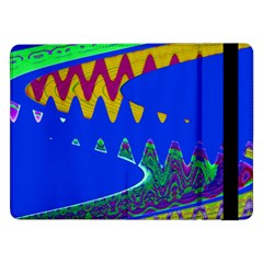 Colorful Wave Blue Abstract Samsung Galaxy Tab Pro 12 2  Flip Case by BrightVibesDesign