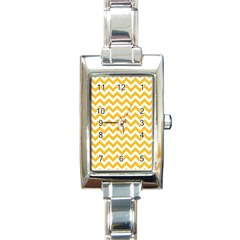 Sunny Yellow & White Zigzag Pattern Rectangle Italian Charm Watch by Zandiepants