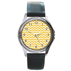 Sunny Yellow & White Zigzag Pattern Round Metal Watch