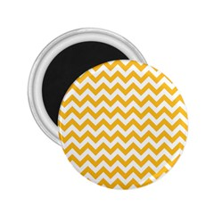 Sunny Yellow & White Zigzag Pattern 2 25  Magnet