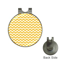 Sunny Yellow & White Zigzag Pattern Golf Ball Marker Hat Clip