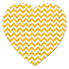Sunny Yellow & White Zigzag Pattern Jigsaw Puzzle (heart)