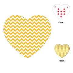 Sunny Yellow & White Zigzag Pattern Playing Cards (heart) by Zandiepants