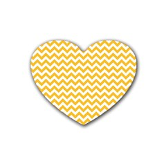 Sunny Yellow & White Zigzag Pattern Rubber Coaster (heart)