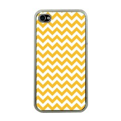 Sunny Yellow & White Zigzag Pattern Apple Iphone 4 Case (clear)