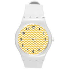 Sunny Yellow & White Zigzag Pattern Round Plastic Sport Watch (m)