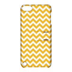 Sunny Yellow & White Zigzag Pattern Apple Ipod Touch 5 Hardshell Case With Stand