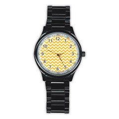 Sunny Yellow & White Zigzag Pattern Stainless Steel Round Watch