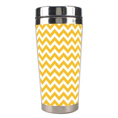 Sunny Yellow & White Zigzag Pattern Stainless Steel Travel Tumbler