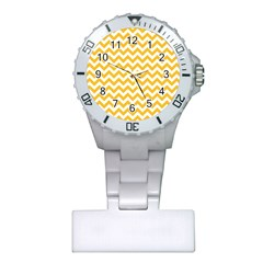 Sunny Yellow & White Zigzag Pattern Plastic Nurses Watch