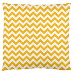 Sunny Yellow & White Zigzag Pattern Large Cushion Case (one Side)