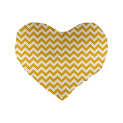 Sunny Yellow & White Zigzag Pattern Standard 16  Premium Flano Heart Shape Cushion