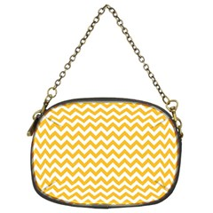Sunny Yellow & White Zigzag Pattern Chain Purse (two Sides)