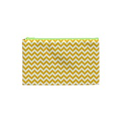 Sunny Yellow & White Zigzag Pattern Cosmetic Bag (xs)
