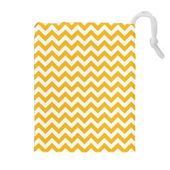 Sunny Yellow & White Zigzag Pattern Drawstring Pouch (xl)
