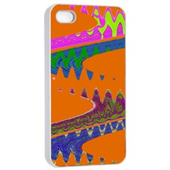 Colorful Wave Orange Abstract Apple Iphone 4/4s Seamless Case (white) by BrightVibesDesign