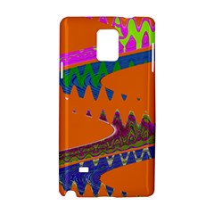 Colorful Wave Orange Abstract Samsung Galaxy Note 4 Hardshell Case by BrightVibesDesign
