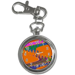 Colorful Wave Orange Abstract Key Chain Watches by BrightVibesDesign