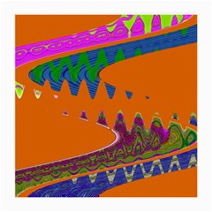 Colorful Wave Orange Abstract Medium Glasses Cloth (2 Side) by BrightVibesDesign