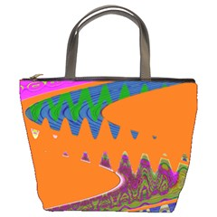 Colorful Wave Orange Abstract Bucket Bags by BrightVibesDesign