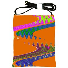 Colorful Wave Orange Abstract Shoulder Sling Bags by BrightVibesDesign