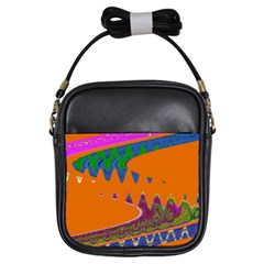 Colorful Wave Orange Abstract Girls Sling Bags by BrightVibesDesign