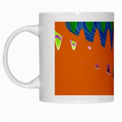 Colorful Wave Orange Abstract White Mugs by BrightVibesDesign