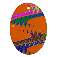 Colorful Wave Orange Abstract Oval Ornament (two Sides) by BrightVibesDesign
