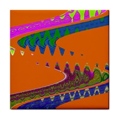 Colorful Wave Orange Abstract Face Towel