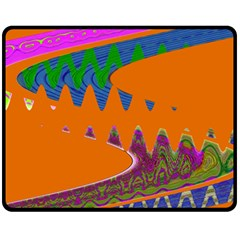 Colorful Wave Orange Abstract Fleece Blanket (medium)  by BrightVibesDesign